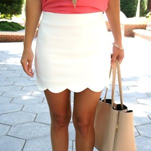 Topshop Skirts - Topshop White Scalloped Hem Skirt